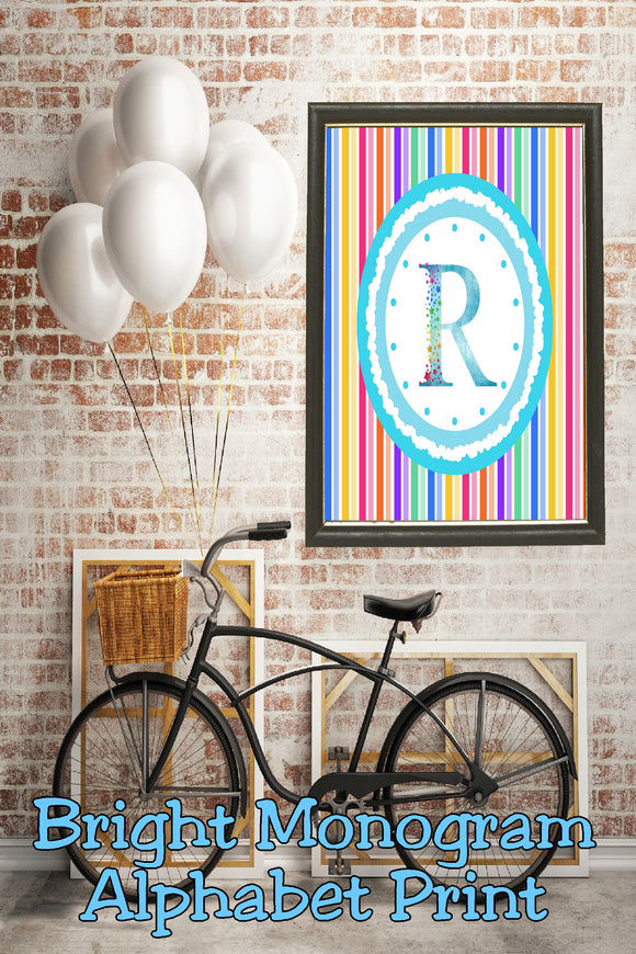 Decorate your home, office, or bedroom with this bright monogram R print. Print has a great spring feel and would be perfect for Easter decor or as a beautiful party decoration.
