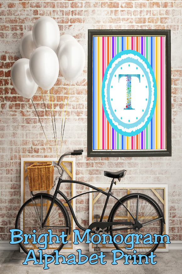 Decorate your home, office, or bedroom with this bright monogram T print. Print has a great spring feel and would be perfect for Easter decor or as a beautiful party decoration.