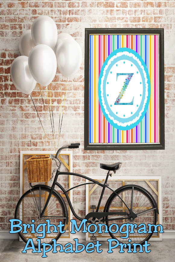 Decorate your home, office, or bedroom with this bright monogram Z print. Print has a great spring feel and would be perfect for Easter decor or as a beautiful party decoration.