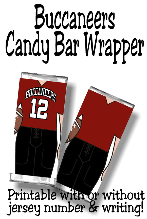Cheer on your Buccaneers to a sweet victory with this printable football jersey candy bar wrapper.  This candy treat is perfect for your Super Bowl party dessert table or as football party favors for your next team party.