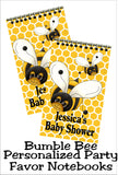 What is it to bee? Your bumble bee baby shower will be complete with these personalized notebook party favors. Perfect for a gender reveal party or a bee birthday party, your guests will love going home with a useful and personal party favor. #bumblebeeparty #genderrevealbabyshower