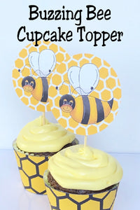 Have a buzzing good time at your bee party with this cute buzzing bee cupcake topper. Easily print out the topper and add to your store bought cupcake for a fun addition to your bee party.