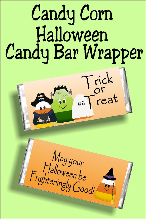 Have a frightening and fun Halloween when you give your friends and family this candy corn Halloween candy bar wrapper. This bar is a fun Halloween card, party favor, or treat for everyone in your group.  This candy bar wrapper has a white to orange gradiant background.  Graphics are candy corn figures dressed up for trick or treating.  Front of wrapper reads