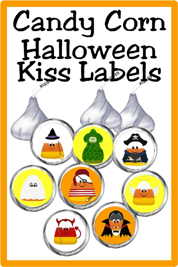 Bring a new type of candy corn to your Halloween party with these yummy candy corn kisses.  These printable labels are a fun addition to any Halloween party dessert table or as a party favor for your guests. #halloweenparty #candycorn #kisslabels