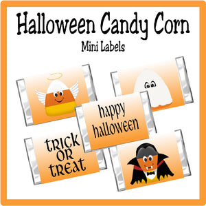 Whether you use these cute candy corn mini candy bar labels as a party favor or a party treat, your Halloween party guest will love these cute candy corn characters wishing them a Happy Halloween. #halloweenparty #candycorn #candybarwrapper