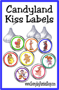 Your game night will never be the same with these Candyland game kiss labels.