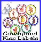 Candyland Game Kiss Label Printable