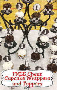Turn ordinary store bought cupcakes into a fun game of chess with these black and white chess cupcake wrappers and toppers you can print from home.