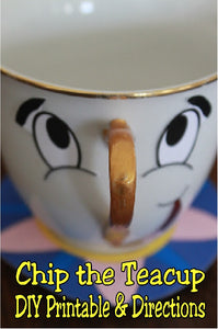 Use an old teacup and this printable to make your own Chip the Teacup from Beauty and the Beast. What a perfect party decoration for your Book Club, birthday party, or fan get together.