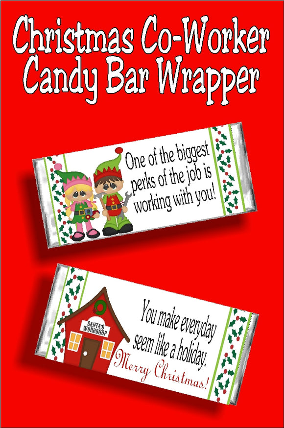 Give your co-workers a fun Christmas gift with this chocolate candy bar and printable wrapper.  They will love the Merry Christmas greeting and the chocolate present.