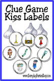 Bring Col. Mustard, Mrs. White and so many of the iconic pieces of the board game Clue.  These Clue game kiss labels are the perfect addition to your game night party and treat table.