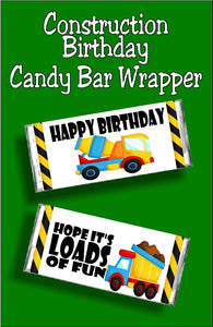 Wish your family and friends a fun Happy birthday with this construction  birthday candy bar wrapper.