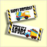 Construction Birthday Candy Bar Wrapper Printable