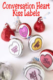 Enjoy some conversation hearts that will get your valentine party guests talking or enjoying the sweet treats with these Conversation Heart kiss printable labels. #conversationheart #kisslabels #printablevalentine #valentinetreat