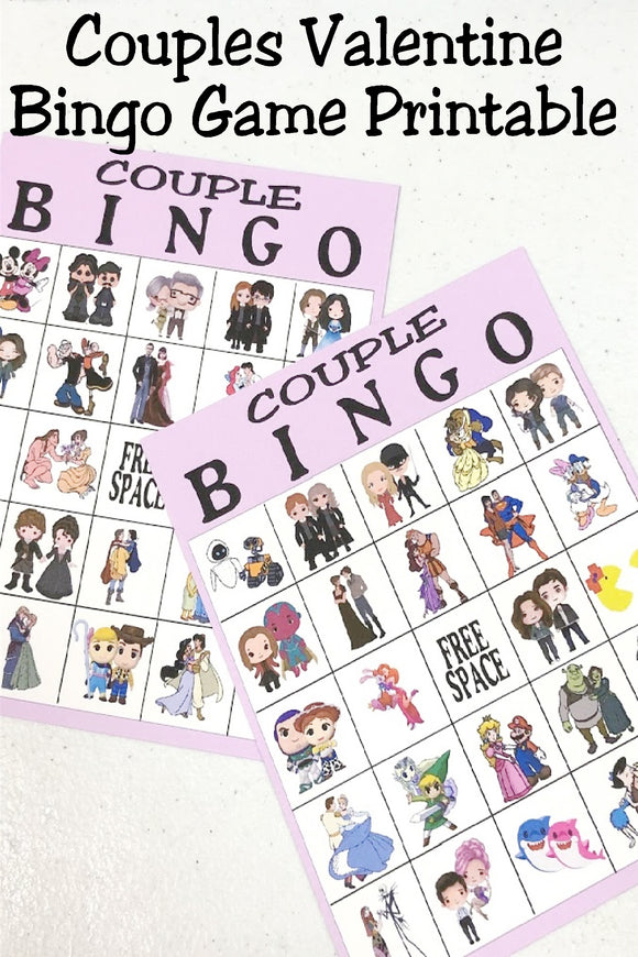 Celebrate Valentine's day with your favorite couples in this printable bingo game that you can make and play at home today.  Featuring your favorite fictional couples such as Beauty and the Beast, Fred and Wilma Flinstone, Jamie and Claire Fraser, and many more, you're Valentine party will be fun as you play with and talk about your favorite couples.