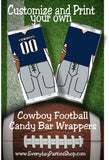 Cowboy Football Customizable and Printable Candy Bar Wrapper