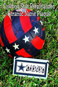 Celebrate your school or team with this personalized cowboy star mascot personalized name plaque.  Name plaque is a perfect graduation gift or senior gift for anyone on your team or in your class.  #nflfootball #nflcowboys #cowboymascot #personalizedgift