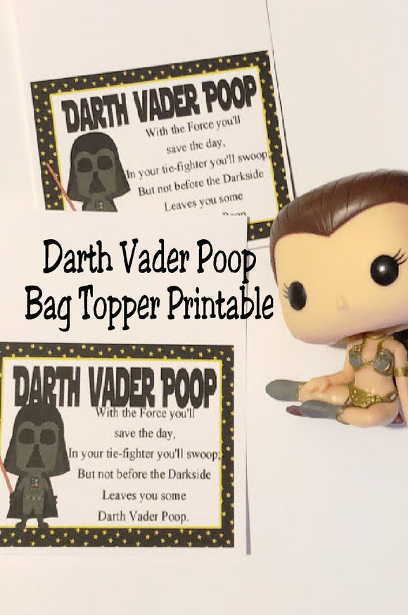 You can save the day, but can you save yourself from Darth Vader poop?  This fun bag topper is perfect for a party favor at your Star Wars party.  The rebellion will be ready to celebrate for sure.