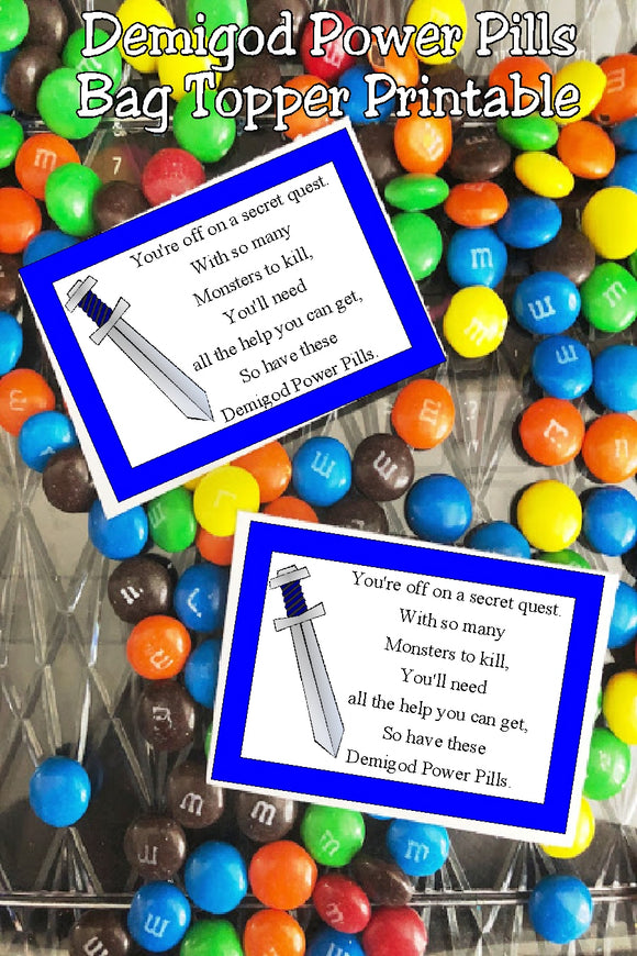 Celebrate your next quest with these Demigod Power Pills perfect for your next Roman or Greek birthday party. These candy bag topper printables would be perfect with a Percy Jackson themed party.