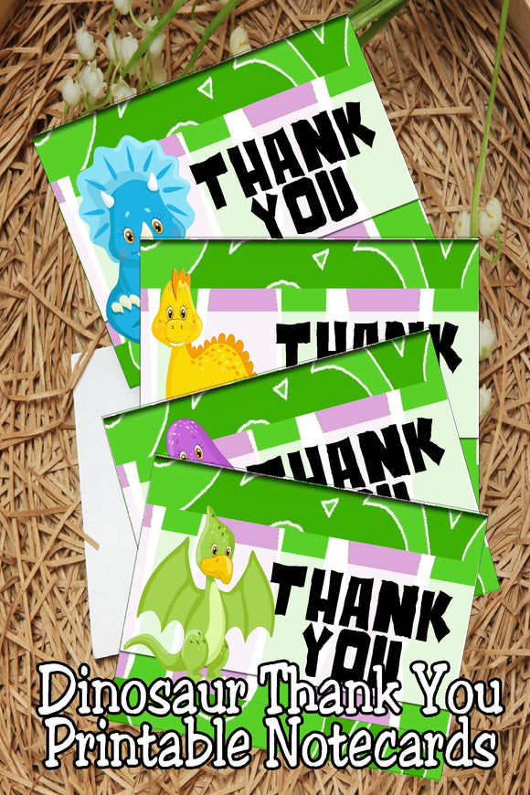 Say thank you to those who attended your Dinosaur party with these cute dinosaur printable thank you notecards.  Each notecard measures roughly 4x5 inches when folded and can be printed on card stock using your home printer.