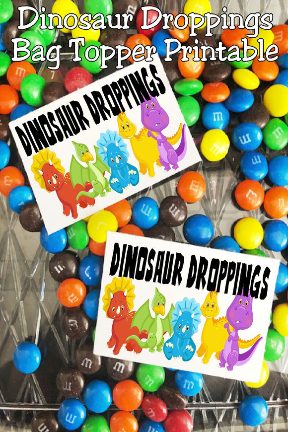 Add a little printable fun with these Dinosaur Droppings bag toppers to your Dinosaur party.  Perfect for party favors or treats on your dessert table, these bag toppers are a quick and easy addition to your dinosaur party.  #dinosaurparty #dinosaurpartyfavor #bagtopperprintable