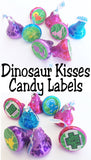 Dinosaur Kisses Printable Label