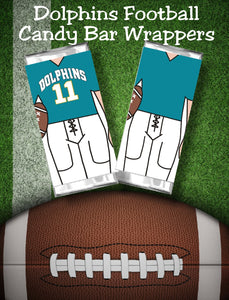 "Cheer your favorite football team all the way to the big game with these printable candy bar wrappers. Candy bar wrappers comes with the Miami Dolphins jersey colors and can cheer ""Go Dolphins"" or any other cheer you need."