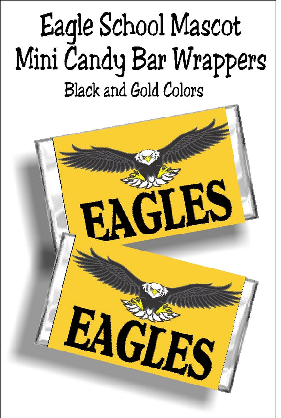 Show your Eagle school spirit with these mini candy bar wrappers perfect for graduation or team spirit.  Simply print and wrap around a Hershey mini candy bar wrapper and glue or tape shut for a fun team treat or party dessert for your sweets tables.