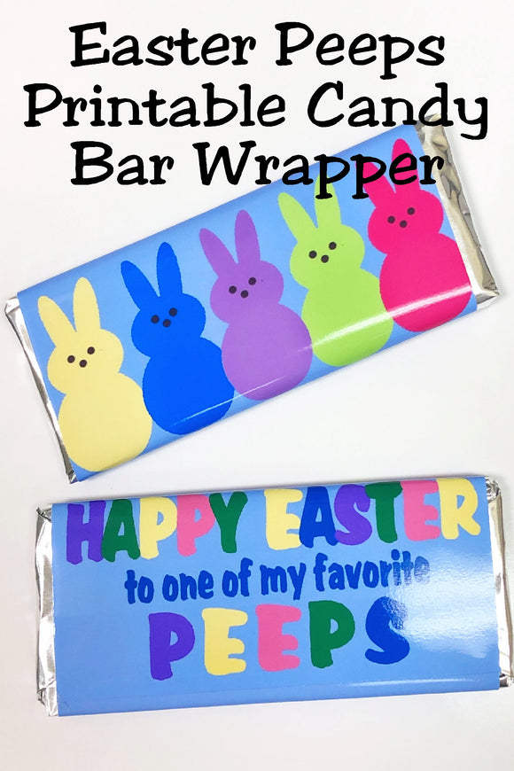 Happy Easter to one of my favorite Peeps! This printable candy bar wrapper is the perfect addition to your Easter party or to your kids' Easter baskets.  With a cute peeps Easter bunny graphic on the front, it adds a sweet treat and sentiment that also doubles as an Easter card.