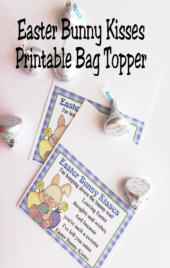 This printable bag topper is perfect for Easter baskets or Easter party favors.  With such a cute saying and fun Easter bunny, these Easter bunny kisses are the perfect addition to your Easter.  Printable is available for immediate download for last minute party favors.
