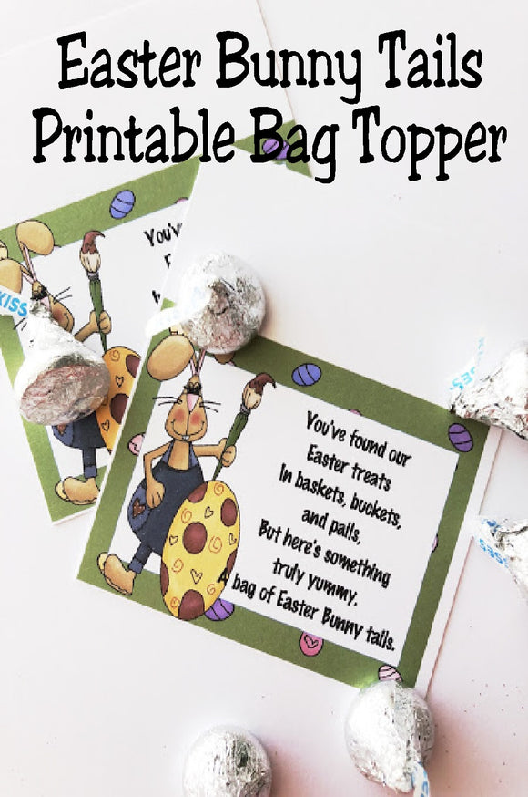 This fun, printable bag topper is perfect for Easter baskets or Easter party favors.  With such a cute saying and fun Easter bunny, these Easter bunny tails are the perfect addition to your Easter.  Printable is available for immediate download for last minute party favors.