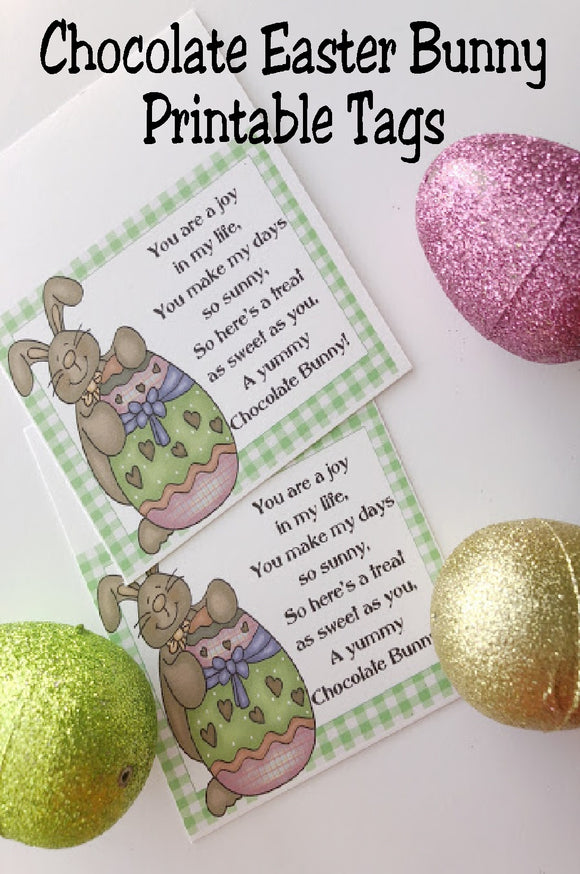 You have so many special people in your life, give them a sweet chocolate bunny and this bag topper tag to say thank you for making your life so sunny.  This chocolate Easter bunny tag is perfect for Easter party favors or Easter basket treats