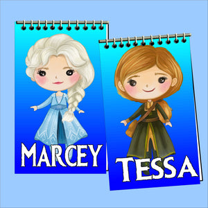 Bring the while gang to your Frozen party with these fun, personalized mini notebooks. These Notebooks make great party favors or treats at your party and are the perfect way to say thank you for coming  #frozenparty #frozenpartyfavor