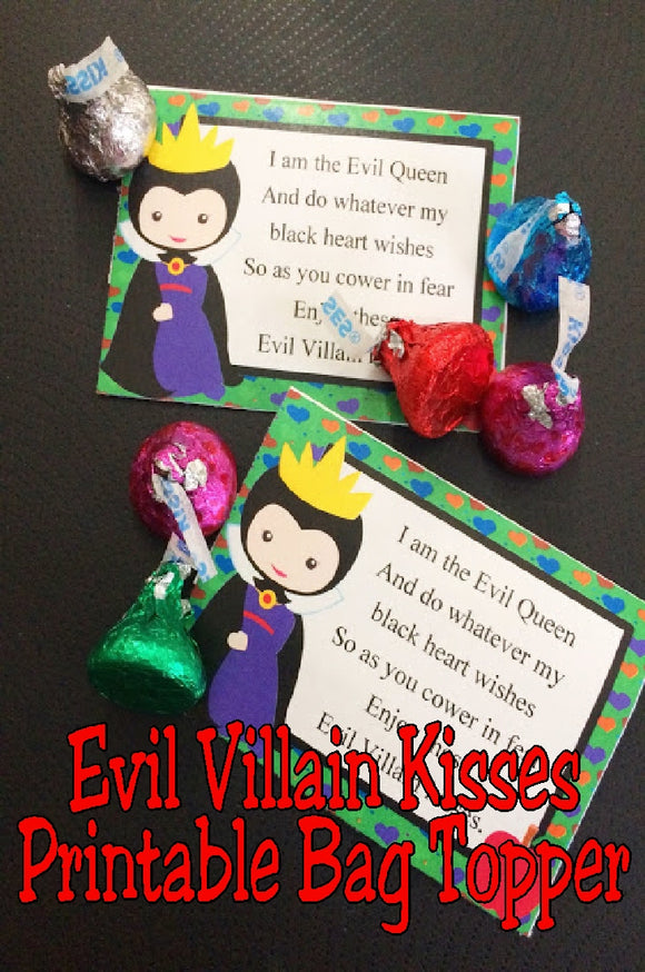 Evil Villain Kisses Printable Bag Topper