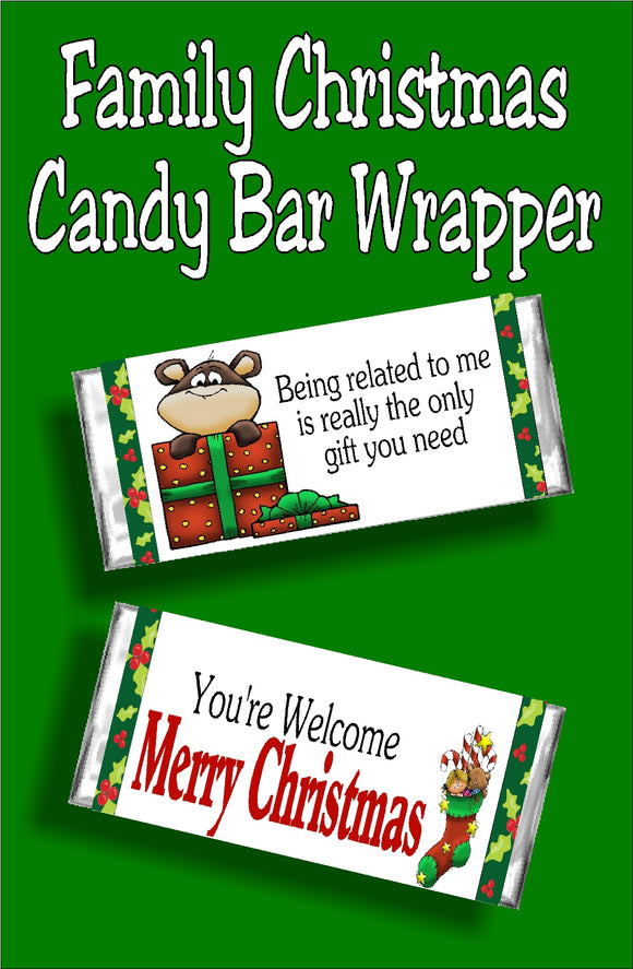 Wish your family a Merry Christmas with this fun printable candy bar wrapper. This wrapper makes a great Christmas card and gift.