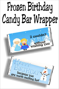 Wish all your friends a Happy Frozen birthday with this fun printable candy bar wrapper.  With Elsa, Anna, and Olaf on your side, every birthday will have the perfect birthday card.