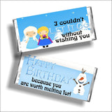 Frozen Birthday Candy Bar Wrapper