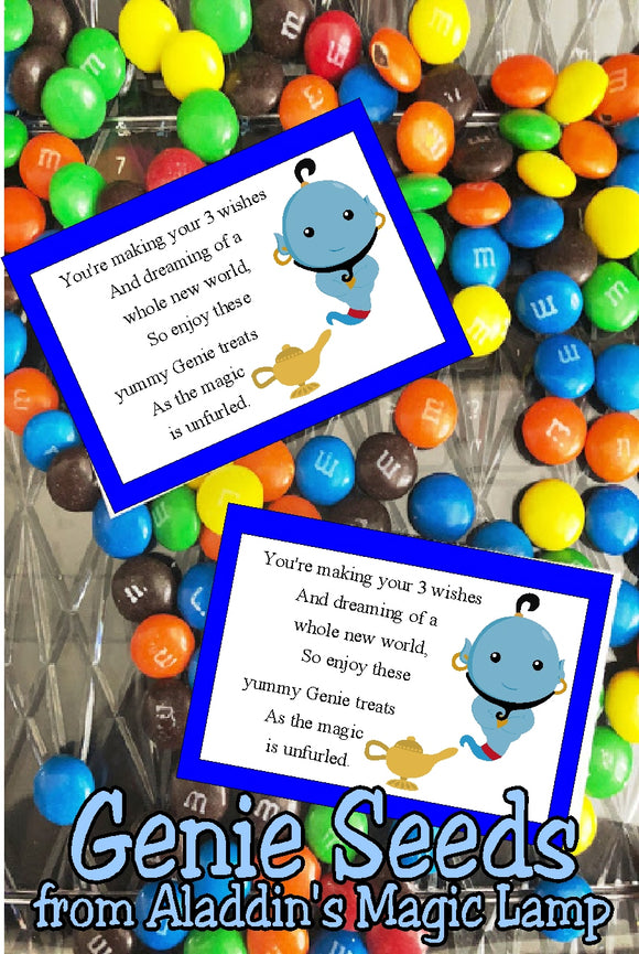 It's a whole new world so go and enjoy the fun at your Aladdin party or your Princess party with these bag toppers perfect for party favors or treats.  Bag topper printable has a blue border with  genie coming out of his lamp.  Beside him is the sentiment that reads:  You're making your 3 wishes  And dreaming of a whole new world,  So enjoy these yummy Genie treats  As the Magic is unfurled.  #aladdinparty #jasmineparty #genie #bagtopperprintable