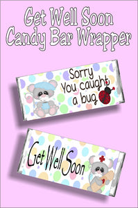 Bug Get Well Soon Candy Bar Wrapper