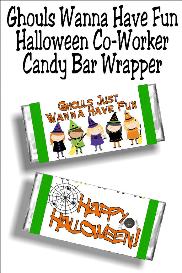 Ghouls just wanna have fun, especially at Halloween. So wish them all a sweet time with this printable Halloween candy bar wrapper perfect for your Halloween party or Halloween trick or treating. #halloweencandybarwrapper #halloweenparty