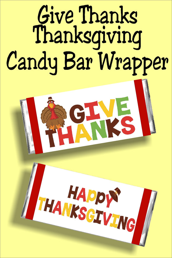 Give thanks this thanksgiving with a fun candy bar thanksgiving card perfect for your thanksgiving dinner guests or friends. #thanskgivingcard #thanksgivingcandybarwrapper #thanksgivingdinnerpartyfavor