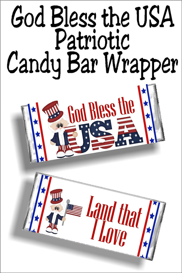 God bless the USA...Land that I Love  Bring a little bit of fun and patriotism to your 4th of July celebration with this patriotic candy bar wrapper.   Your guests will love this yummy candy bar favor at your 4th of July party.