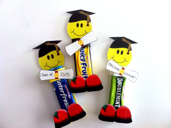 Graduation Smiley Face Gum Head Printable and Directions