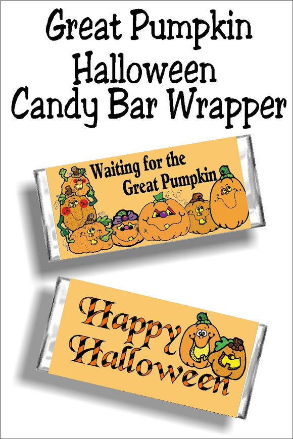 Enjoy a sweet treat as you are waiting for the Great Pumpkin to appear on Halloween night with this printable candy bar wrapper.  This Halloween candy bar is the perfect addition to your Charlie Brown Halloween party or for any Halloween party favor or treat. #halloweencandy #thegreatpumpkin #charliebrownhalloween