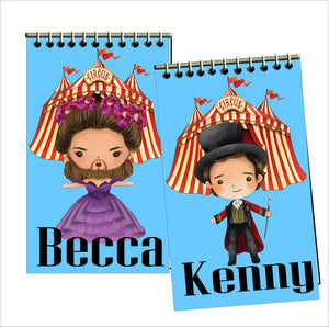 Celebrate at your Circus party with these personalized party favors that your guests will love to take home and use.  These custom notebooks feature your favorite Greatest Showman characters with your guests' names in a matching font.
