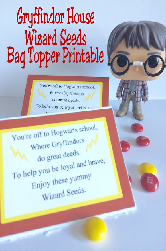 Show your house pride with these Gryffindor house Wizard Seeds. These printablebag toppers are perfect for a Harry Potter party and are a unique and fun party favor.