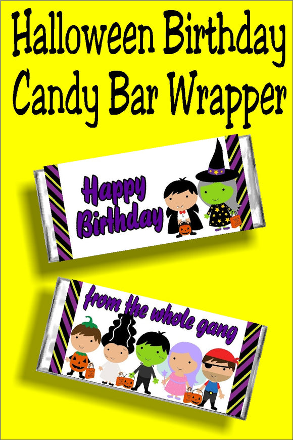 Wish your friend a Happy Halloween Birthday with this fun candy bar wrapper that doubles as a birthday card and birthday gift in one.  This candy bar wrapper has a white background with a purple, orange, black, green, and yellow striped border on front and back.  Front has two friends dressed up for Halloween with the greeting