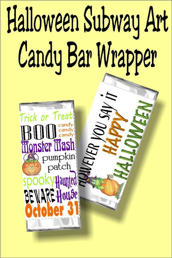 This Halloween candy bar wrapper is the perfect Halloween card and treat in one to give to your friends at your Halloween party.  With a cute subway art graphic, your friends and coworkers will love this party favor, treat, or gift. #subwayart #halloweenparty #halloweencandybarwrapper