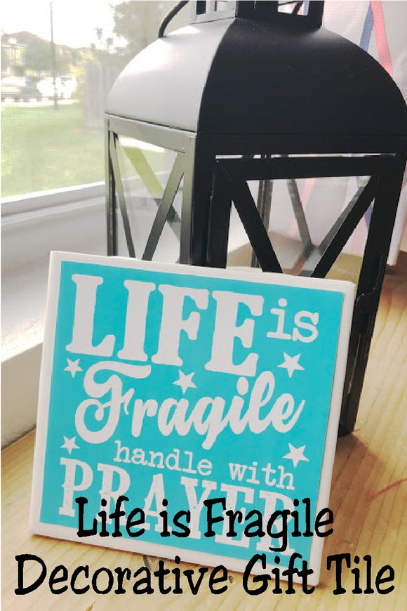 Life is fragile handle with prayer.  Keep this decorative plaque by your bed to help you always remember to pray before the storms of life hit.  Prayer quote comes in several different size plaques and even a refrigerator magnet