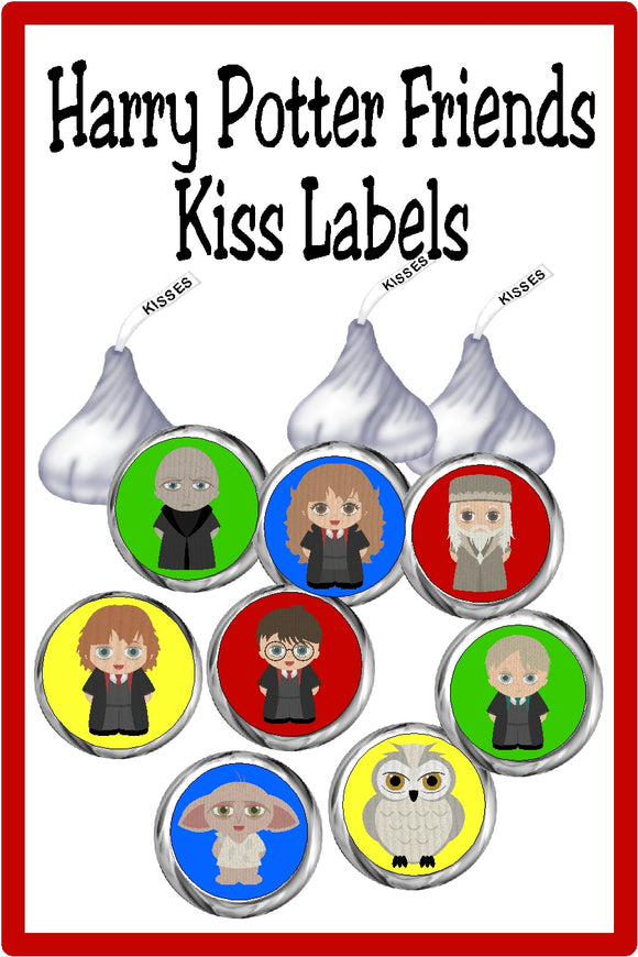 Bring all your favorite characters  to your dessert table or party favors with these Harry Potter Kiss printable labels. These printable Kiss lables are the perfect addition to any Harry Potter party.  Included in this set is Harry, Ron, Hermoine, Hedwig, Dobby, Voldermort, Dumbledore, and Malfoy